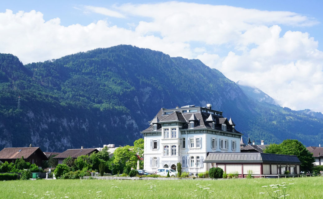 Morgenberghorn flanking the Adventure hostel Interlaken