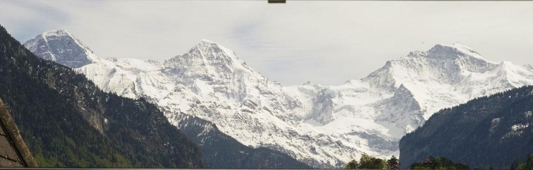 unique Eiger, Mönch & Jungfrau views from the Adventure hostel Interlaken