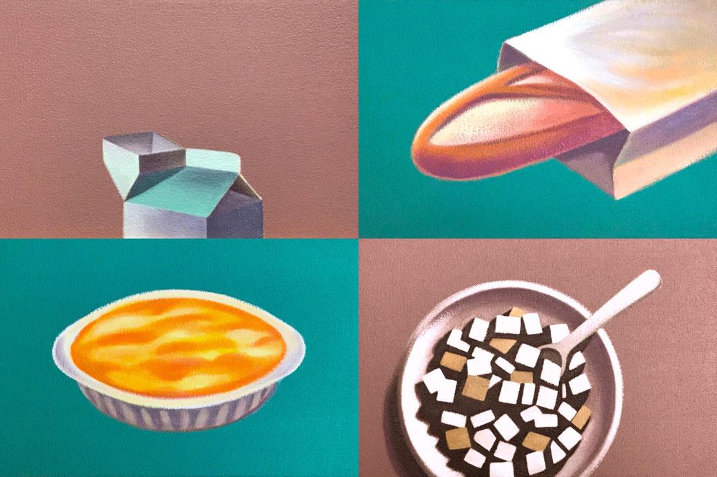 左上『牛乳パック』、右上『フランスパン』、左下『グラタン』、右下『角砂糖』 各20×30cm  油彩・サンドマチエール・キャンバス 2017年