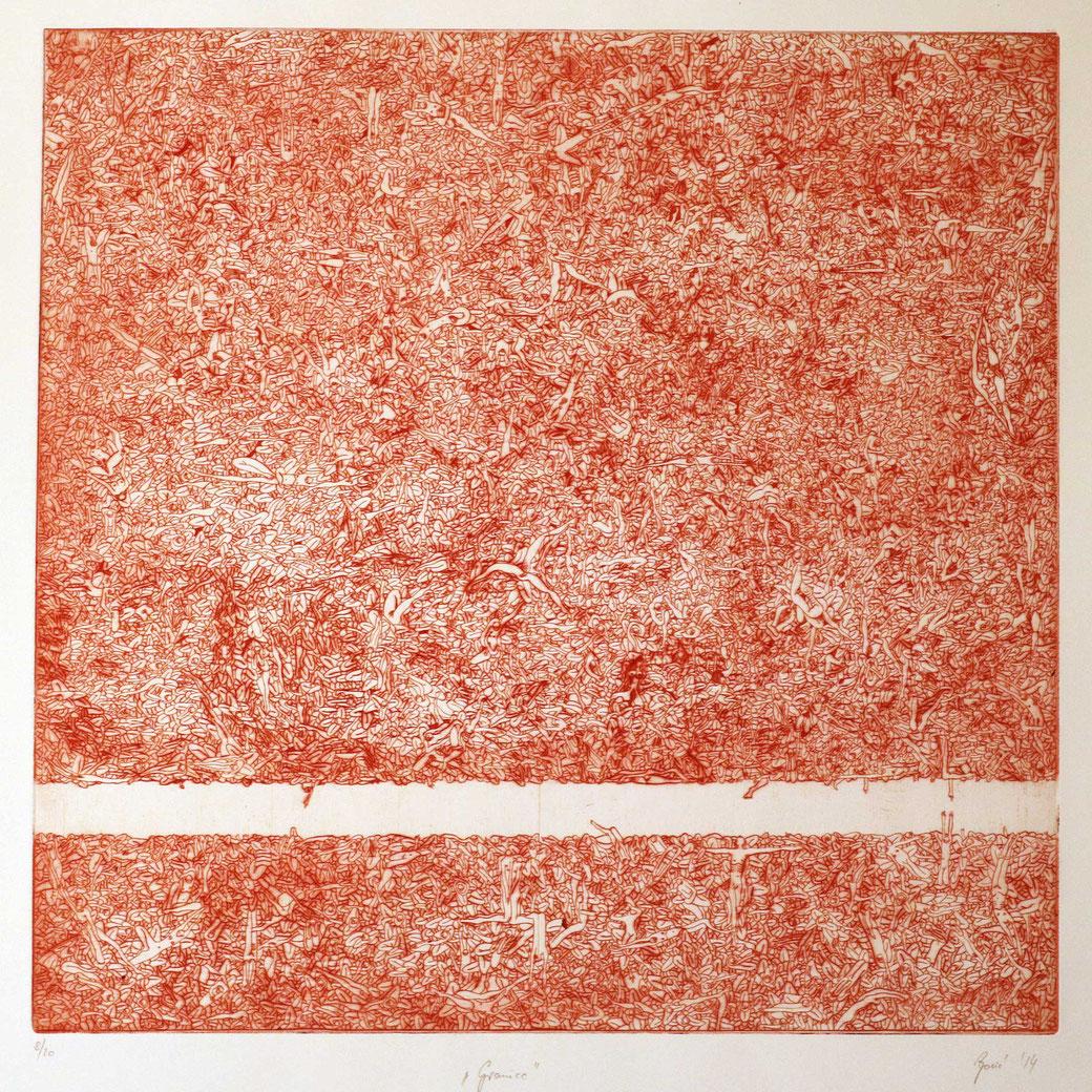 Boundaries - dry point - 70 x 70 cm - 2015