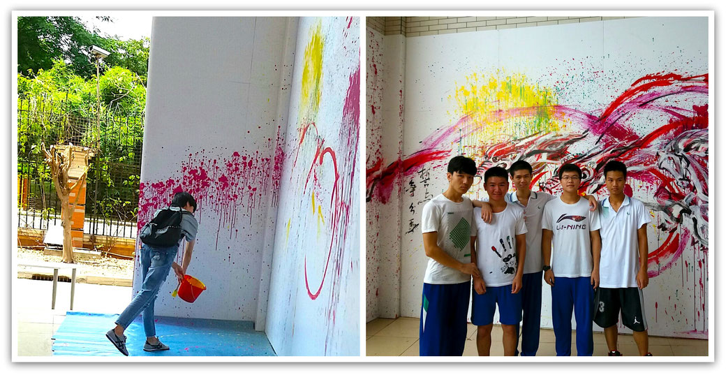 Lum Weng Kong's grafitti mural with students.