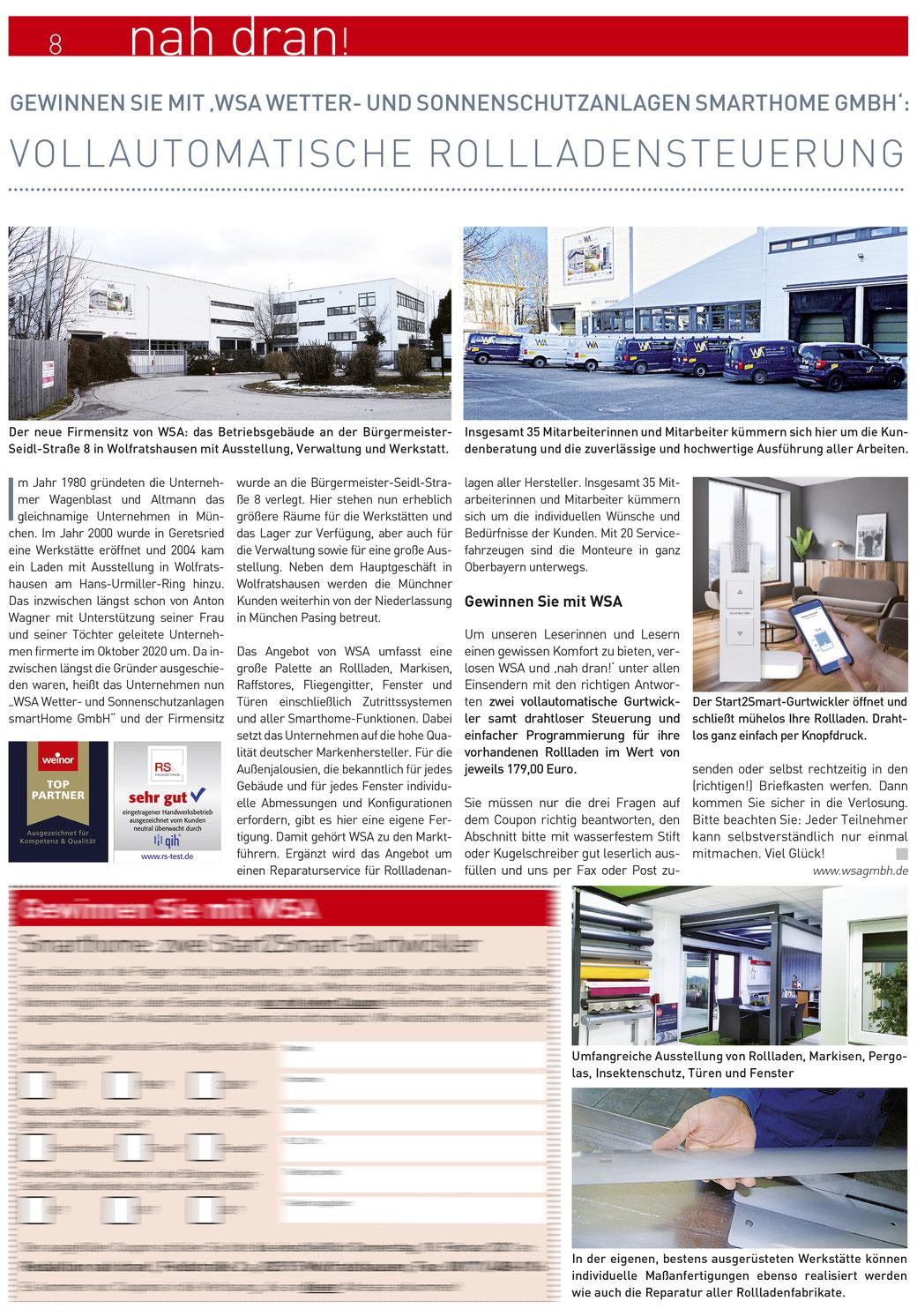 """Pressetext im """"nah dran"""" bei Münchner Merkur, 02/2021"""