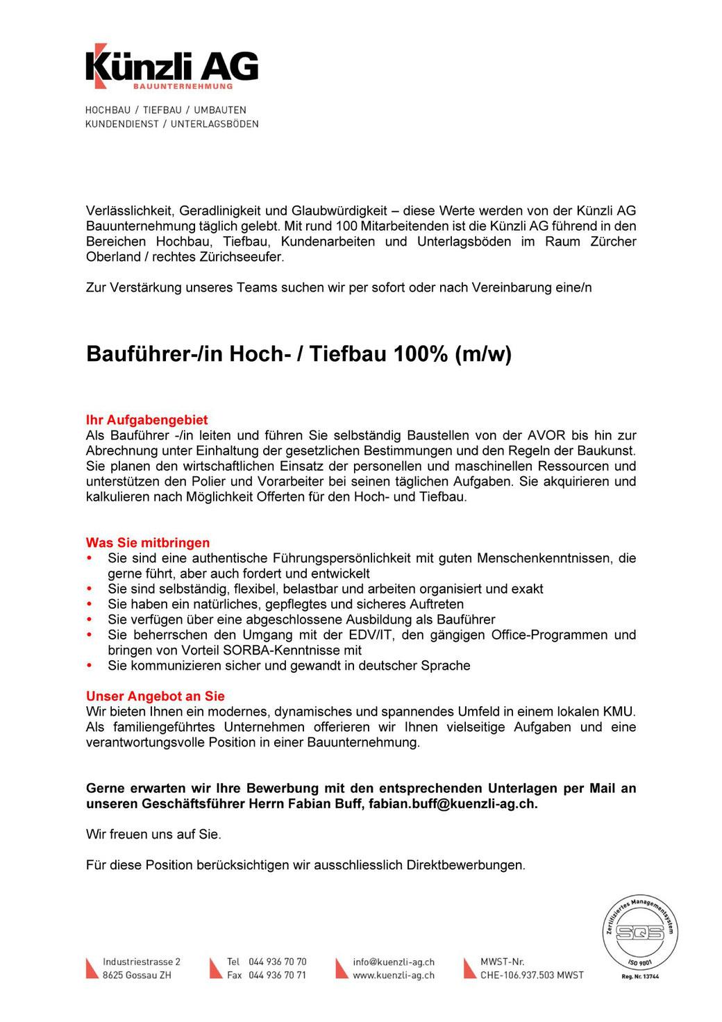 Stellenausschreibung auf der Facebook-Seite der Künzli AG, 25.3.2020