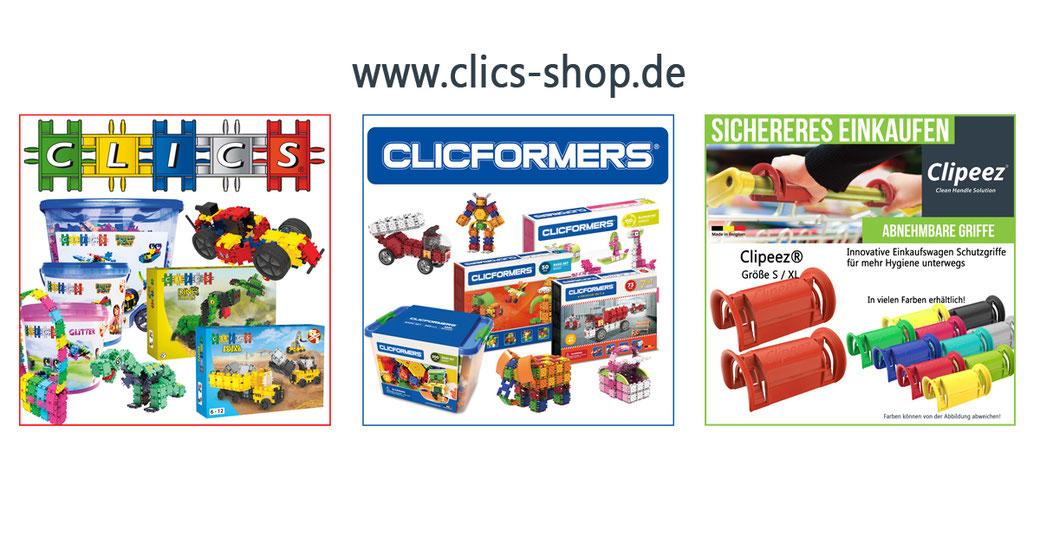 Clics Bausteine, Clicformers Bausteine und Clipeez Einkaufswagengriffe bei uns im Online-Shop