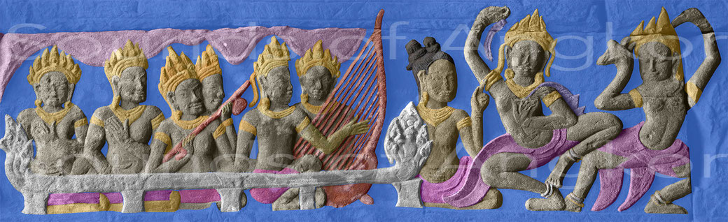 Court orchestra. Female musician wear crowns but singer a double bun. Bayon. Late 12th-early 13th c.