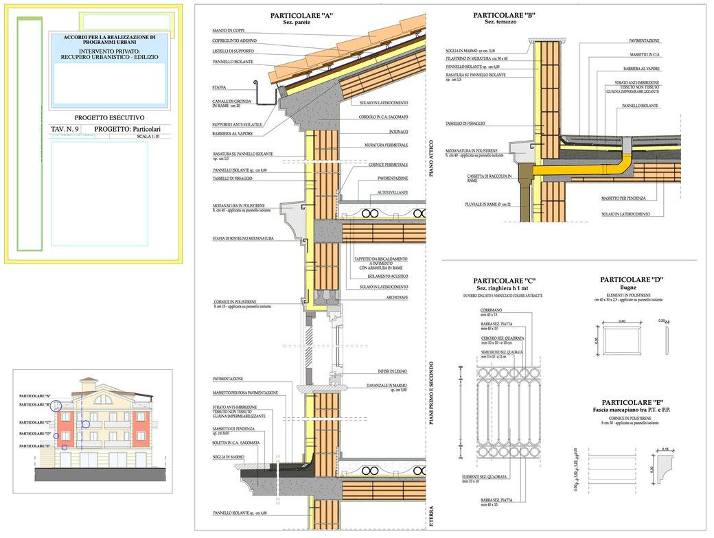Esempio di progettazione architettonica - Esempio n.2 di progettazione architettonica palazzo in centro storico  - Tav 9 (alcuni particolari costruttivi)