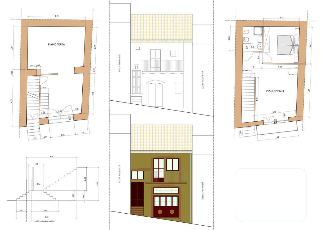 Esempio di progettazione architettonica - Stralcio progetto di ristrutturazione edilizia immobile  - Dettagli piante e prospetti