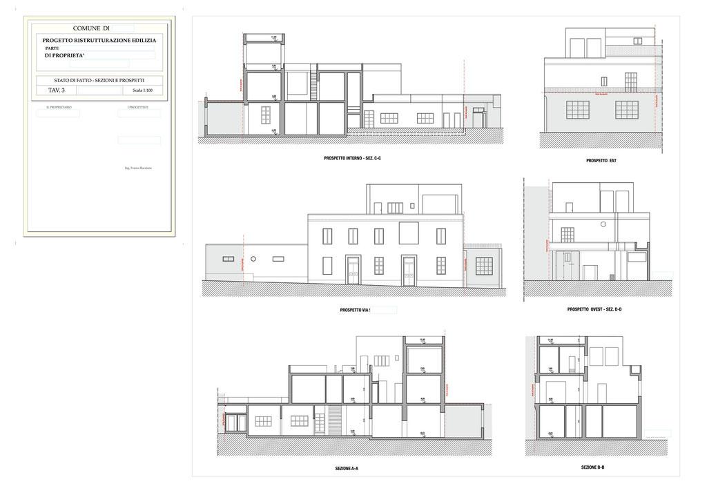 Esempio di progettazione architettonica - Stralcio ristrutturazione in centro storico  - Tav 3