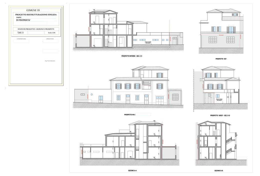 Esempio di progettazione architettonica - Stralcio ristrutturazione in centro storico  - Tav 5