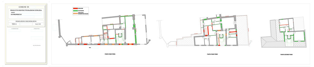 Esempio di progettazione architettonica - Stralcio ristrutturazione in centro storico  - Tav 6