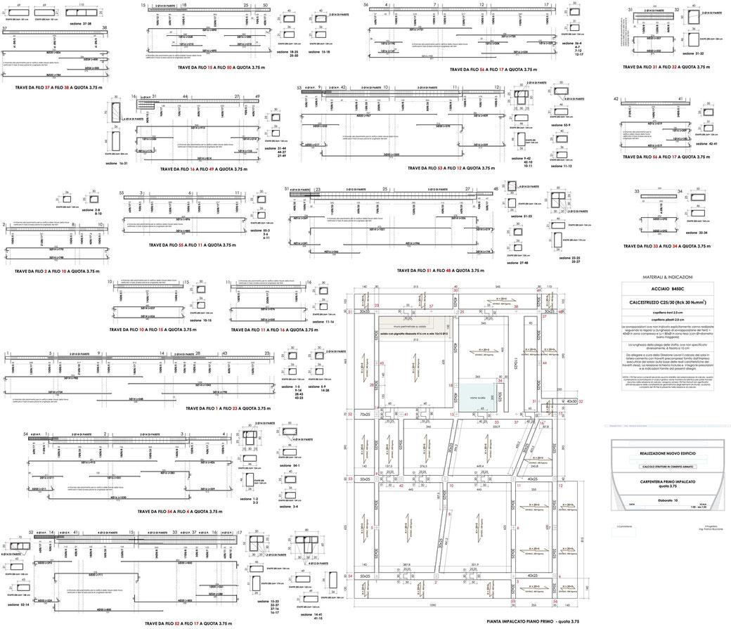 Esempio di progettazione strutturale - Stralcio progetto strutture di un edificio - Carpenteria primo impalcato