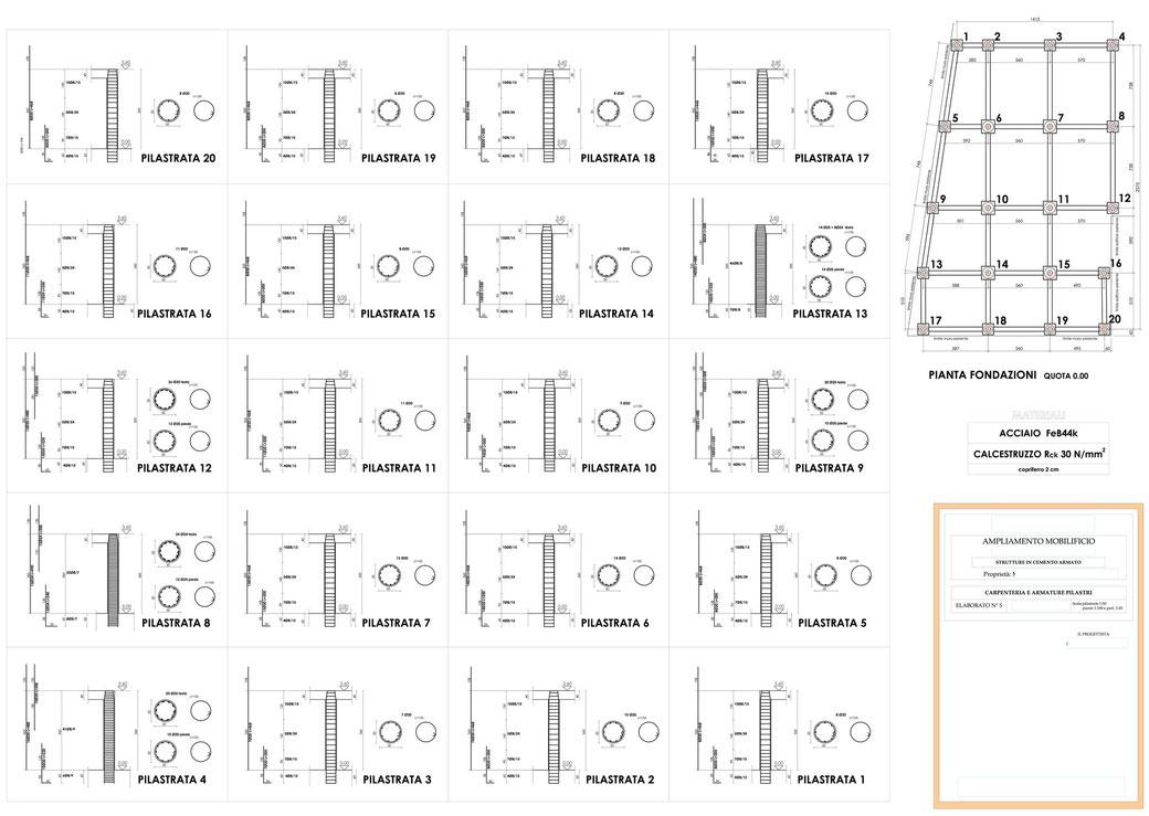 Esempio di progettazione strutturale - Stralcio carpenteria cemento armato ampliamento di un mobilificio - Pilastri