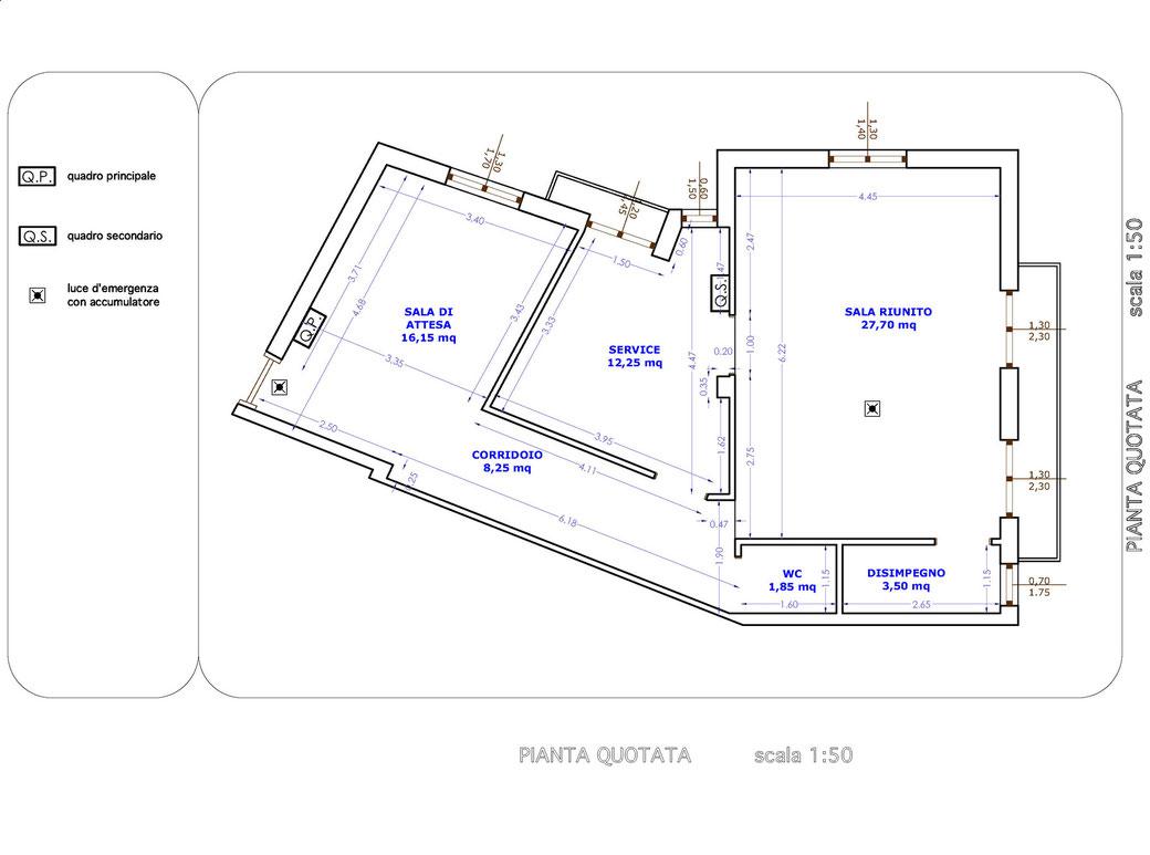 Esempio di progettazione strutturale - Impianto elettrico studio odontoiatrico - Pianta