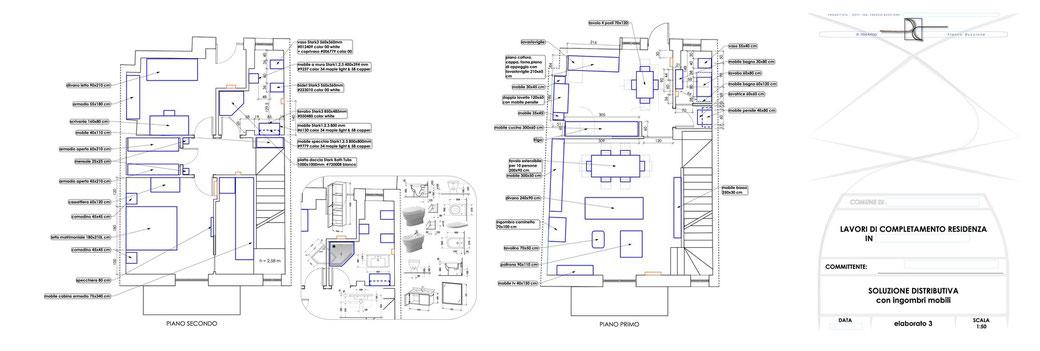 Esempio di progettazione architettonica - Stralcio progetto di ristrutturazione edilizia immobile  - elaborato 3