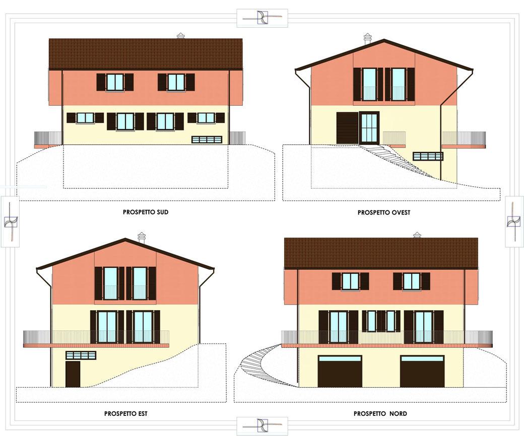 Esempio di progettazione architettonica - Prospetti di una villetta
