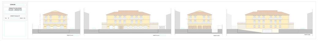 Esempio di progettazione architettonica - Esempio n.1 di progettazione architettonica palazzo in centro storico  - Tav 2 soluzione alternativa