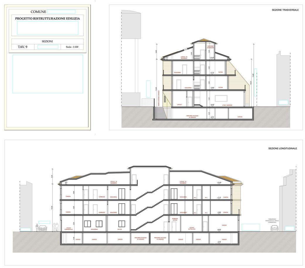 Esempio di progettazione architettonica - Esempio n.1 di progettazione architettonica palazzo in centro storico  - Tav 9