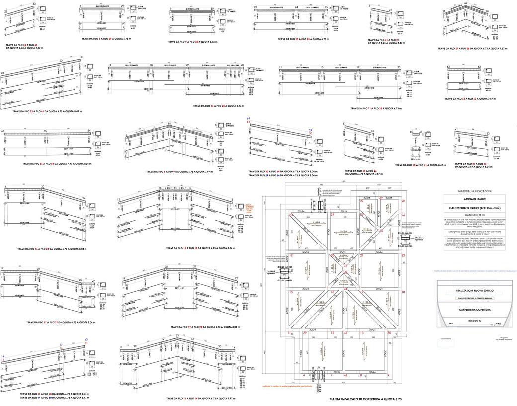 Esempio di progettazione strutturale - Stralcio carpenteria cemento armato edificio su pali - Carpenteria copertura