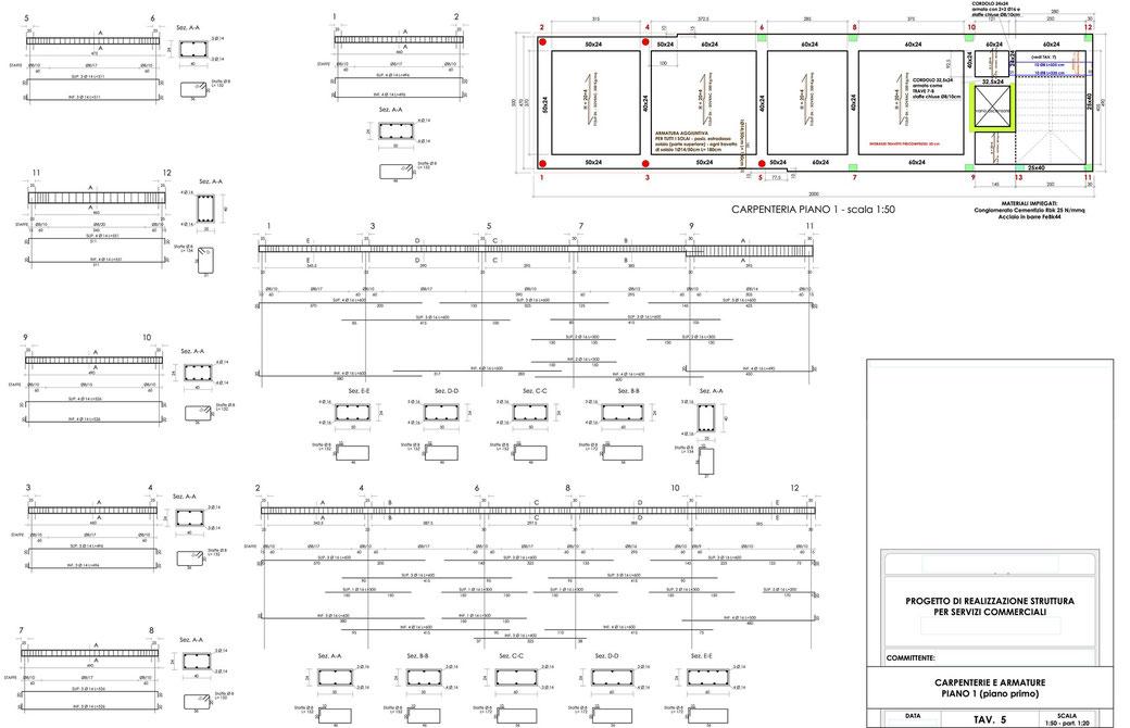 Esempio di progettazione strutturale - Stralcio progetto strutture edificio terziario - Carpenterie e armature 1° piano