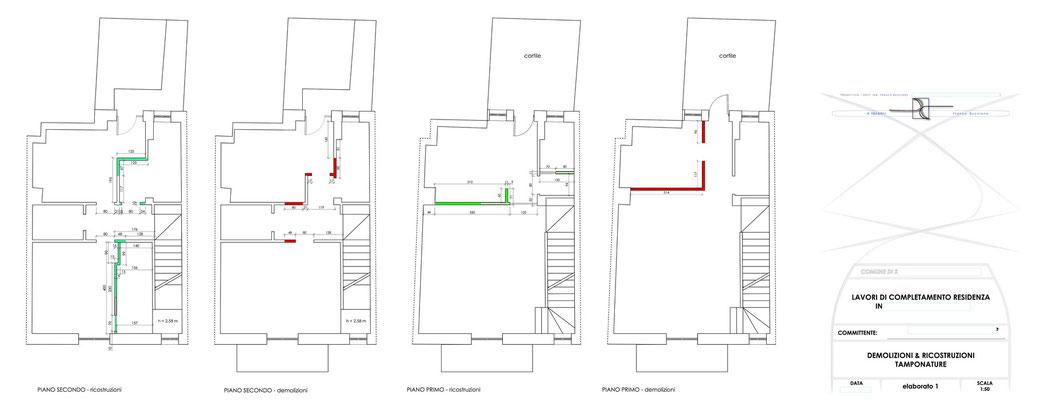 Esempio di progettazione architettonica - Stralcio progetto di ristrutturazione edilizia immobile  - elaborato 1