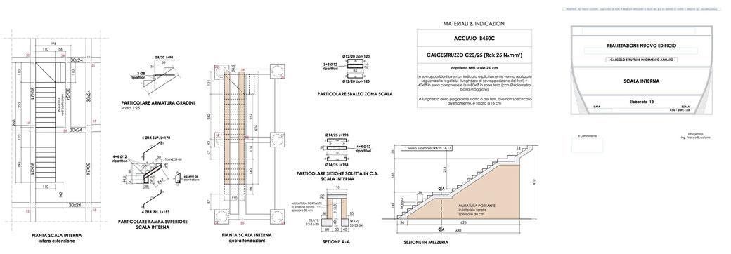 Esempio di progettazione strutturale - Stralcio carpenteria cemento armato edificio su pali - Scala interna