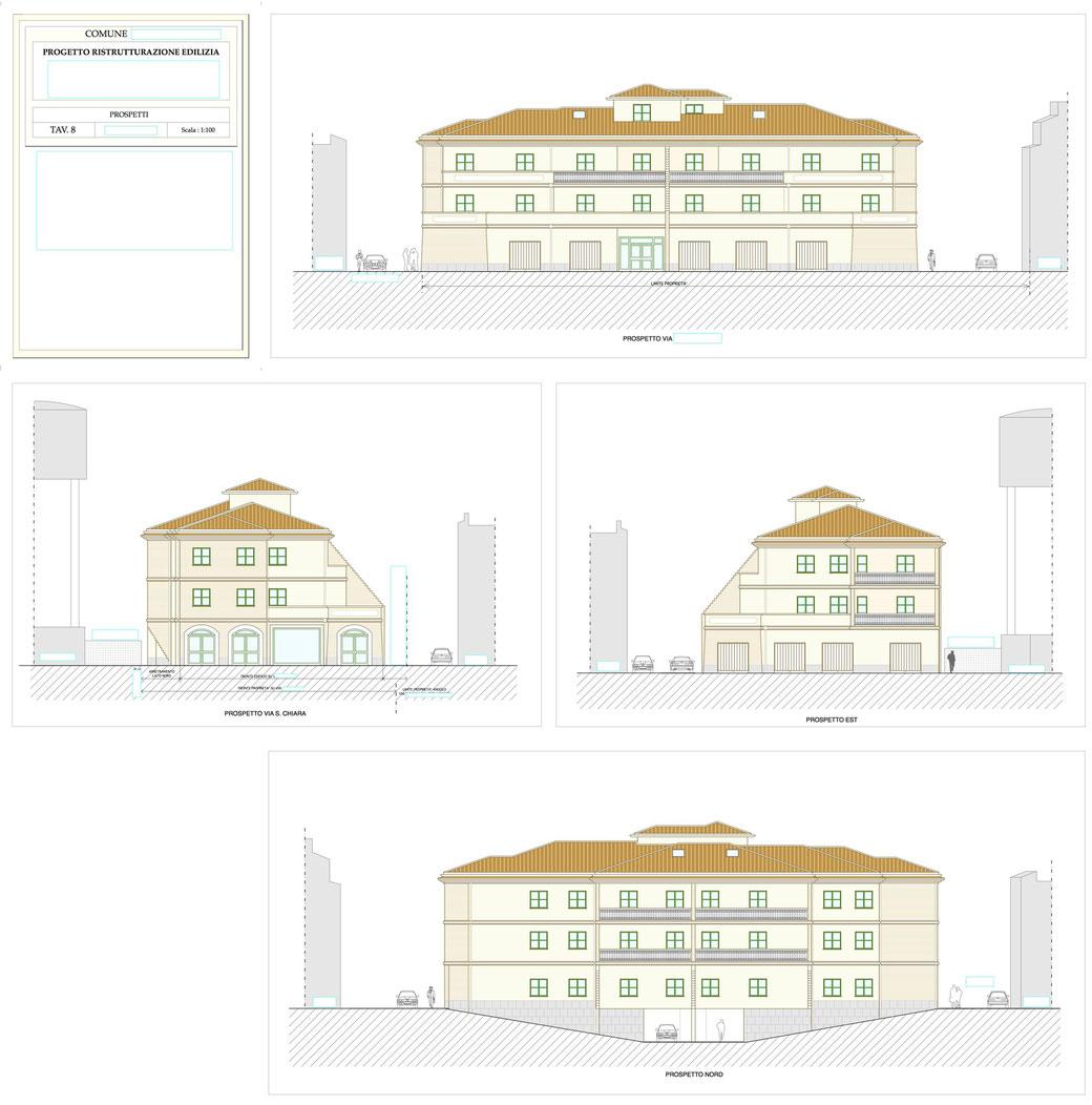 Esempio di progettazione architettonica - Esempio n.1 di progettazione architettonica palazzo in centro storico  - Tav 8
