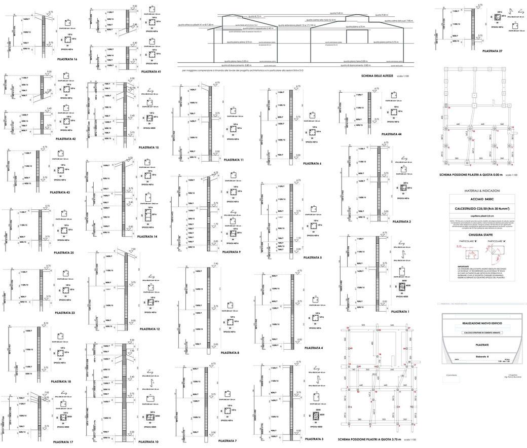 Esempio di progettazione strutturale - Stralcio progetto strutture di un edificio - Pilastrate
