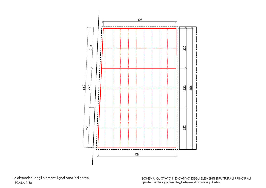 Esempio di progettazione strutturale - Indicazioni progettuali per realizzazione gazebo - Schema quotato 1