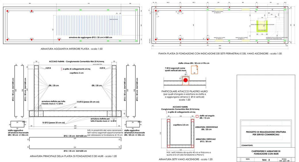 Esempio di progettazione strutturale - Stralcio progetto strutture edificio terziario - Fondazioni e muri