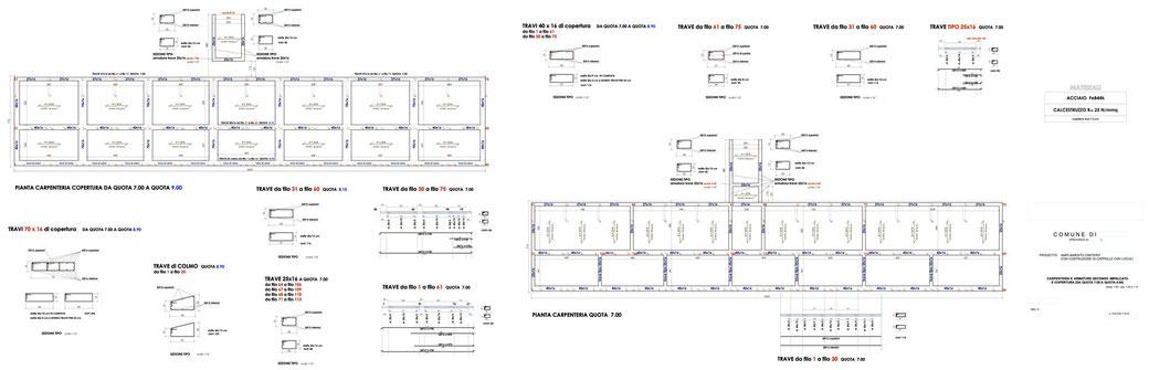 Esempio di progettazione strutturale - Stralcio progetto strutture in cemento armato di un'opera pubblica - Carpenteria e armature elevazione