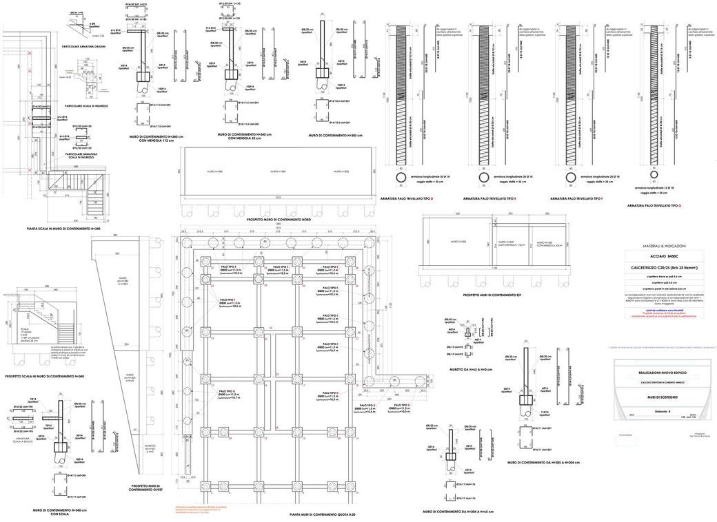Esempio di progettazione strutturale - Stralcio carpenteria cemento armato edificio su pali - Muri di sostegno