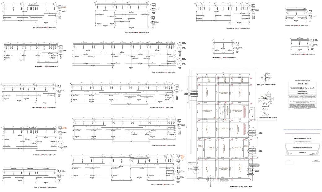 Esempio di progettazione strutturale - Stralcio carpenteria cemento armato edificio su pali - Carpenteria I° impalcato