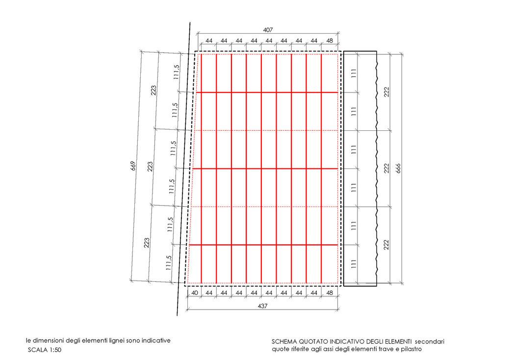 Esempio di progettazione strutturale - Indicazioni progettuali per realizzazione gazebo - Schema quotato 2