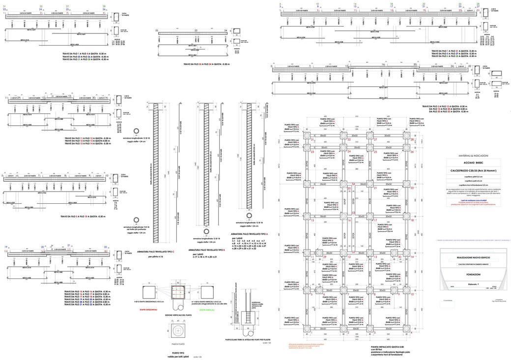Esempio di progettazione strutturale - Stralcio carpenteria cemento armato edificio su pali - Fondazioni