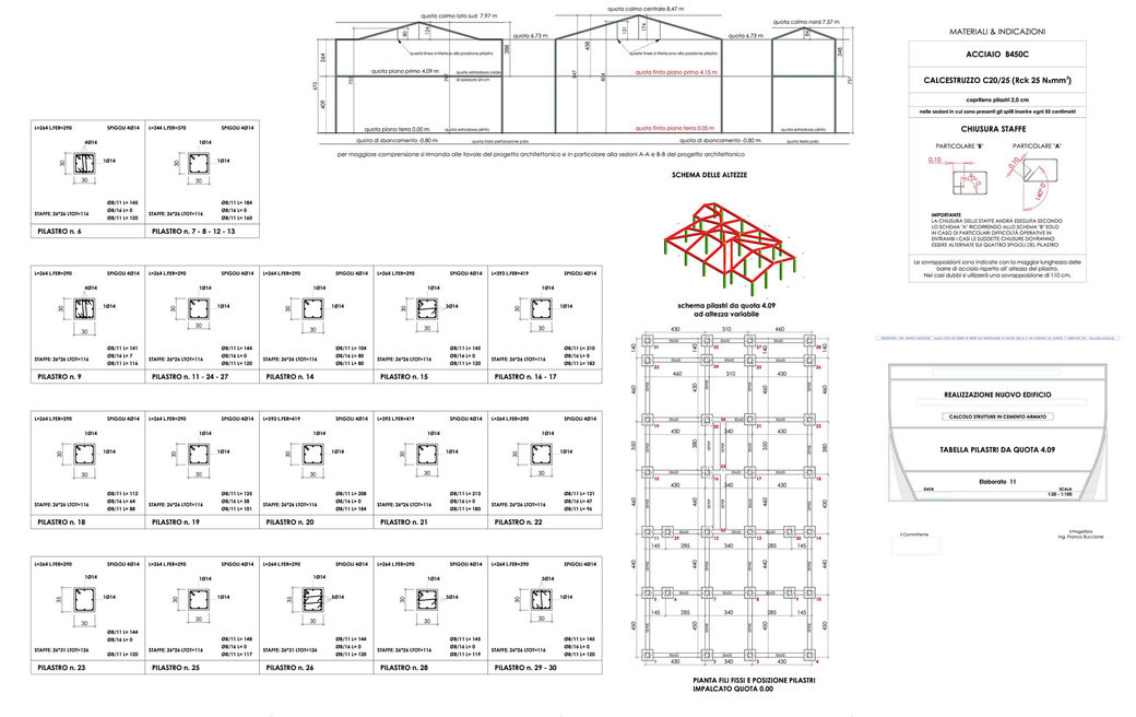 Esempio di progettazione strutturale - Stralcio carpenteria cemento armato edificio su pali - Tabella pilastri