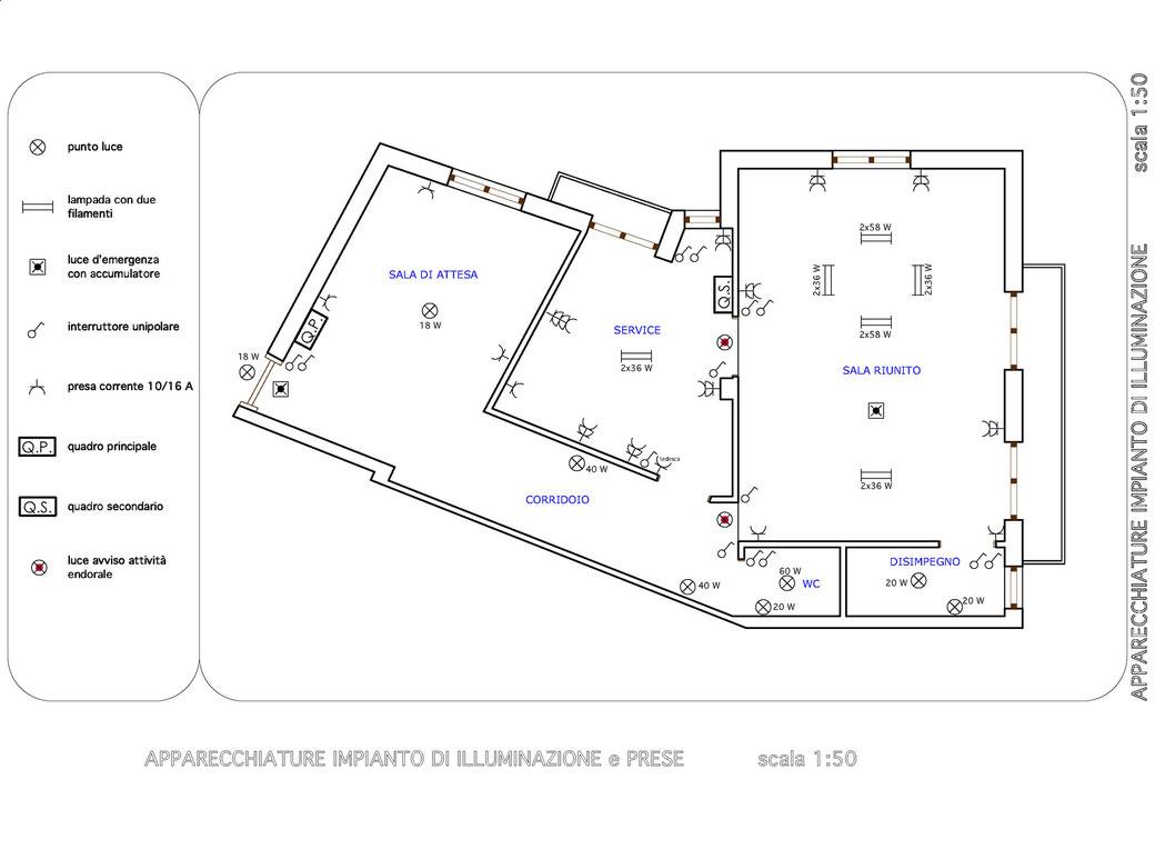 Esempio di progettazione strutturale - Impianto elettrico studio odontoiatrico - Impianto illuminazione