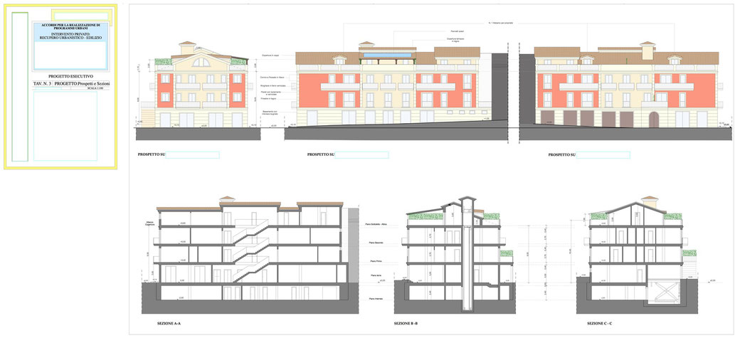 Esempio di progettazione architettonica - Esempio n.2 di progettazione architettonica palazzo in centro storico  - Tav 3