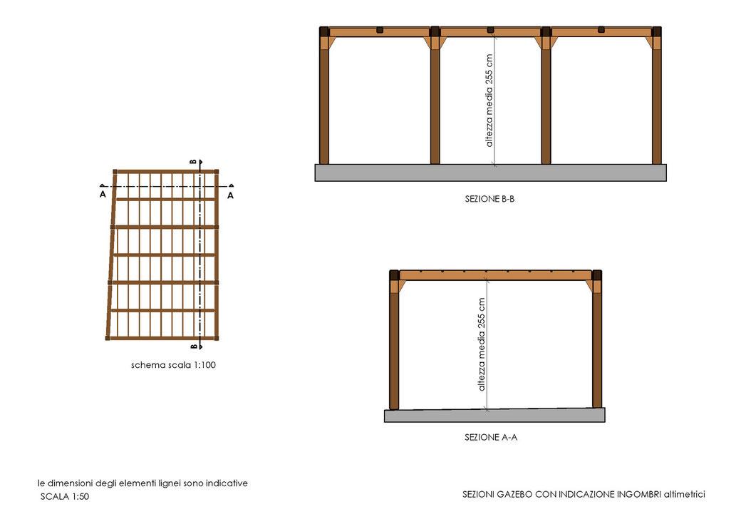 Esempio di progettazione strutturale - Indicazioni progettuali per realizzazione gazebo - Sezioni