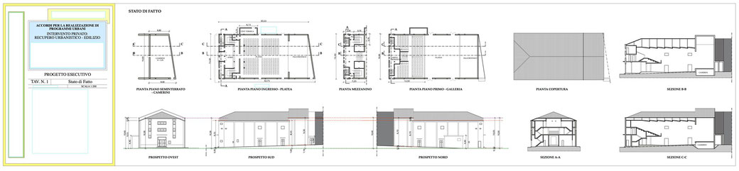 Esempio di progettazione architettonica - Esempio n.2 di progettazione architettonica palazzo in centro storico  - Tav 1