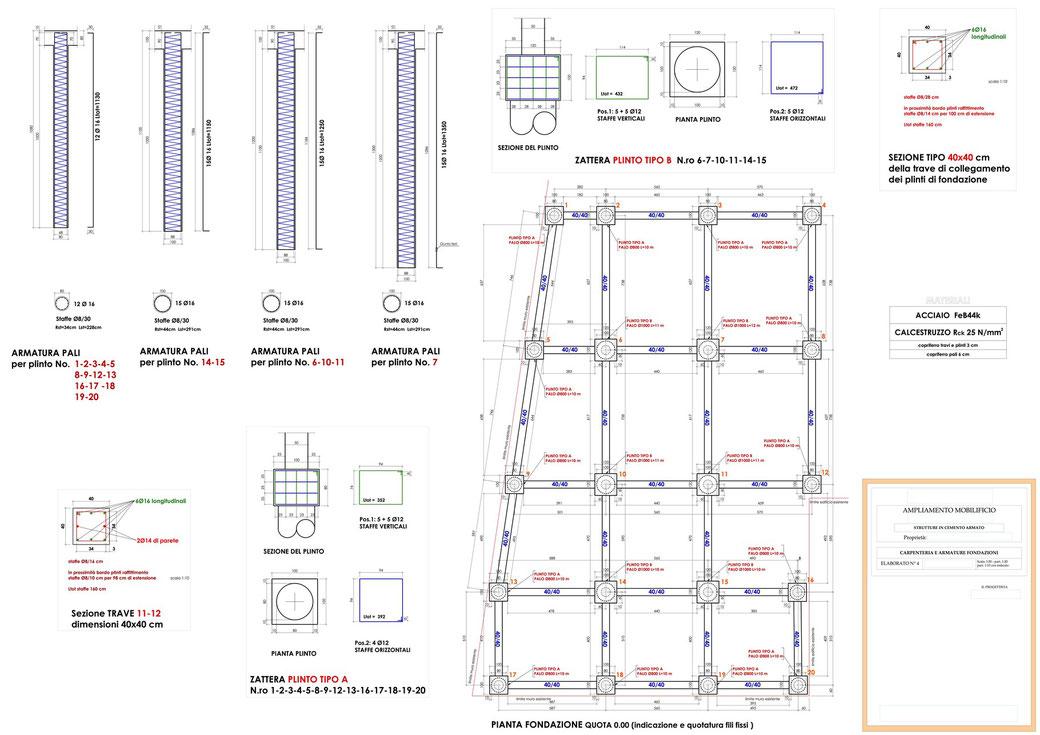 Esempio di progettazione strutturale - Stralcio carpenteria cemento armato ampliamento di un mobilificio - Fondazioni