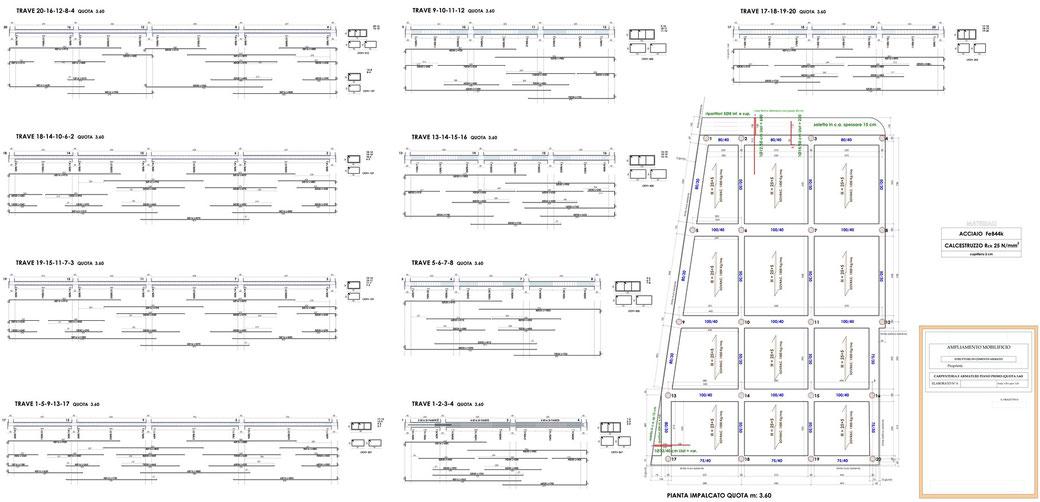 Esempio di progettazione strutturale - Stralcio carpenteria cemento armato ampliamento di un mobilificio - Carpenteria e armature I° piano