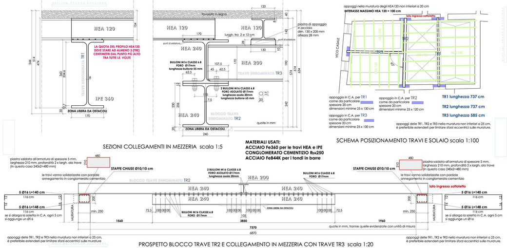 Esempio di progettazione strutturale - Carpenteria acciaio per ristrutturazione edificio esistente in centro storico