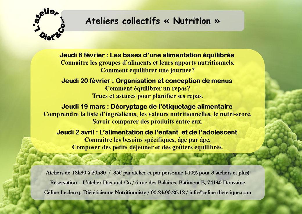 Atelier collectif adulte nutrition Douvaine diététicienne nutritionniste
