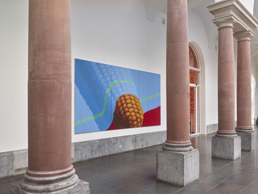 "Pia Krajewski, ""Planet 58"", Kunstsammlung NRW, K21, Düsseldorf 2019, oT (Mais) 2019, 230x450cm, (Foto: Achim Kukulies)"