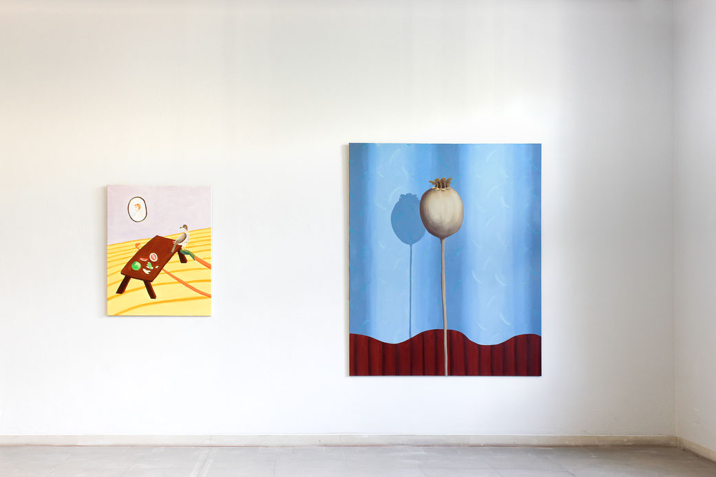 "Pia Krajewski, ""72. internationale bergische Kunstausstellung"" Kunstmuseum Solingen, left: oT (PomeloFalke) 2017, 100x80cm, right: oT (Mohn) 2018, 180x150cm"