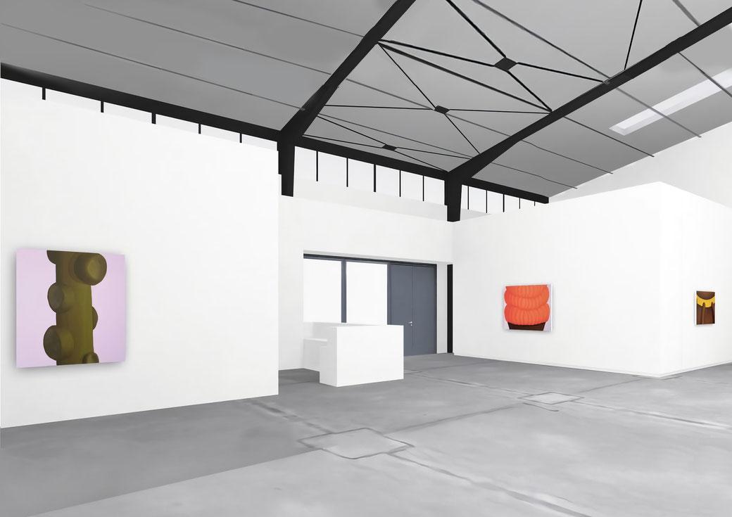"Pia Krajewski, solo exhibition ""Floating Craters"", 2020, Artuner, left: oT (Ast) 2020, 150x100cm, middle: oT (Pfanne) 2020, 120x150cm, right: oT (Haarkrone) 2020, 80x120cm"