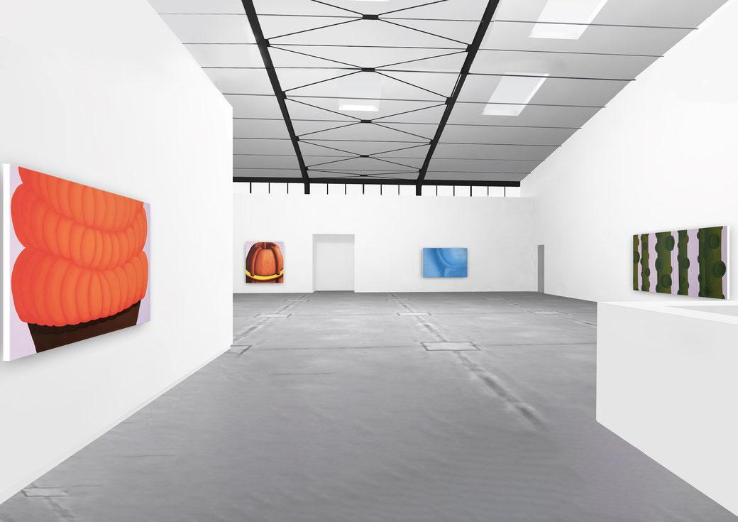"Pia Krajewski, solo exhibition ""Floating Craters"", 2020, Artuner, left: oT (Pfanne) 2020, 120x150cm, 2. left: oT (Haarvulkan) 2020, 200x180cm, 2. right: oT (Wecker) 2020, 150x230cm, right: oT (Wald) 2020, 180x300cm"
