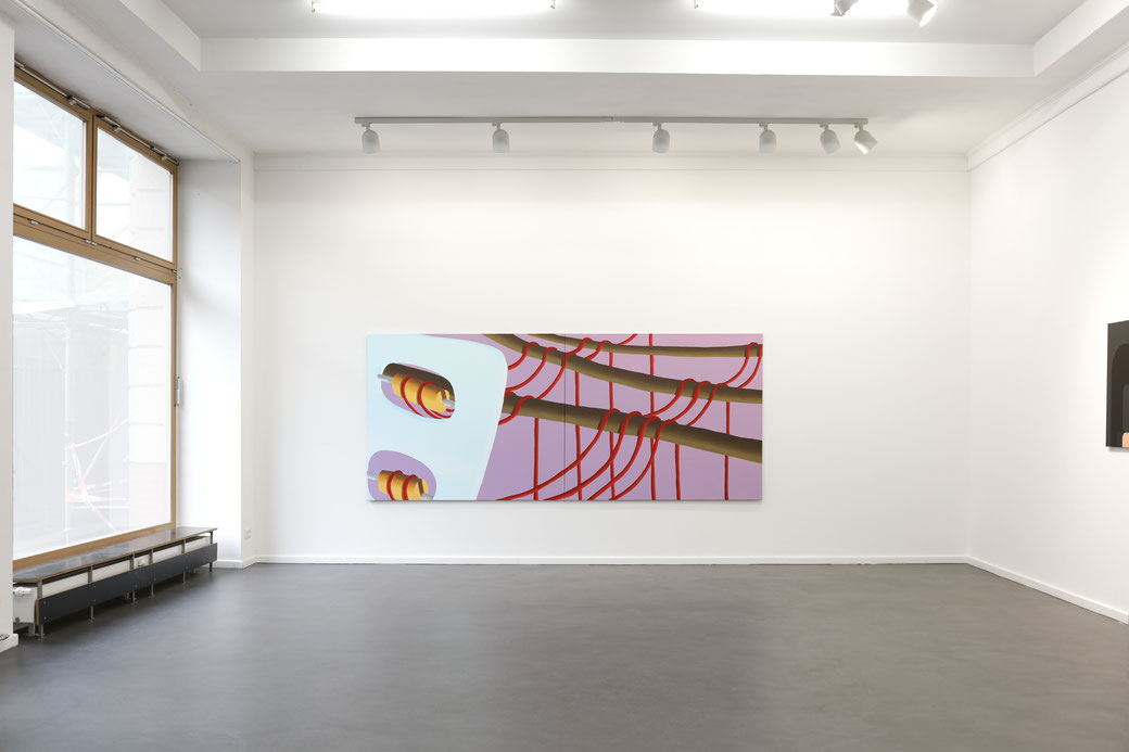 "Pia Krajewski, ""Come Close and Step Back"" curated by Jurriaan Benschop, Künstlerhaus Bethanien 2019, Artuner, oT (Spinnerei) 2019, 150x360cm), right wall: Irina Ojovan"