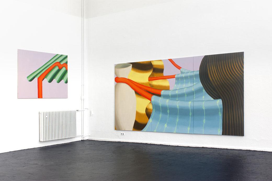 "Pia Krajewski, ""Matilda's Dream"" Graduation Show 2018, Kunstakademie Düsseldorf, left: oT (Wellblech) 150x200cm, right: oT (Haarlandschaft) 230x450cm, Artuner"