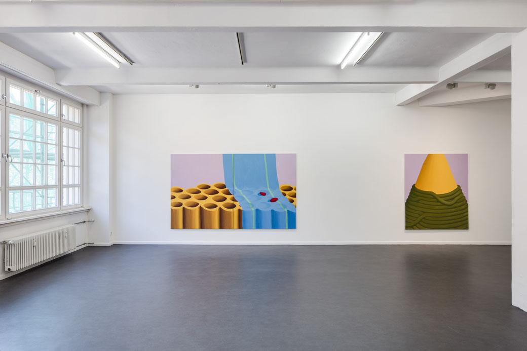 Pia Krajewski, Come Close and Step Back, curated by Jurriaan Benschop, Künstlerhaus Bethanien 2019, left: oT (HagebuttenRöhren) 2019, 180x300cm, right: oT (Spitze) 2019, 180x150cm, Foto: David Brandt